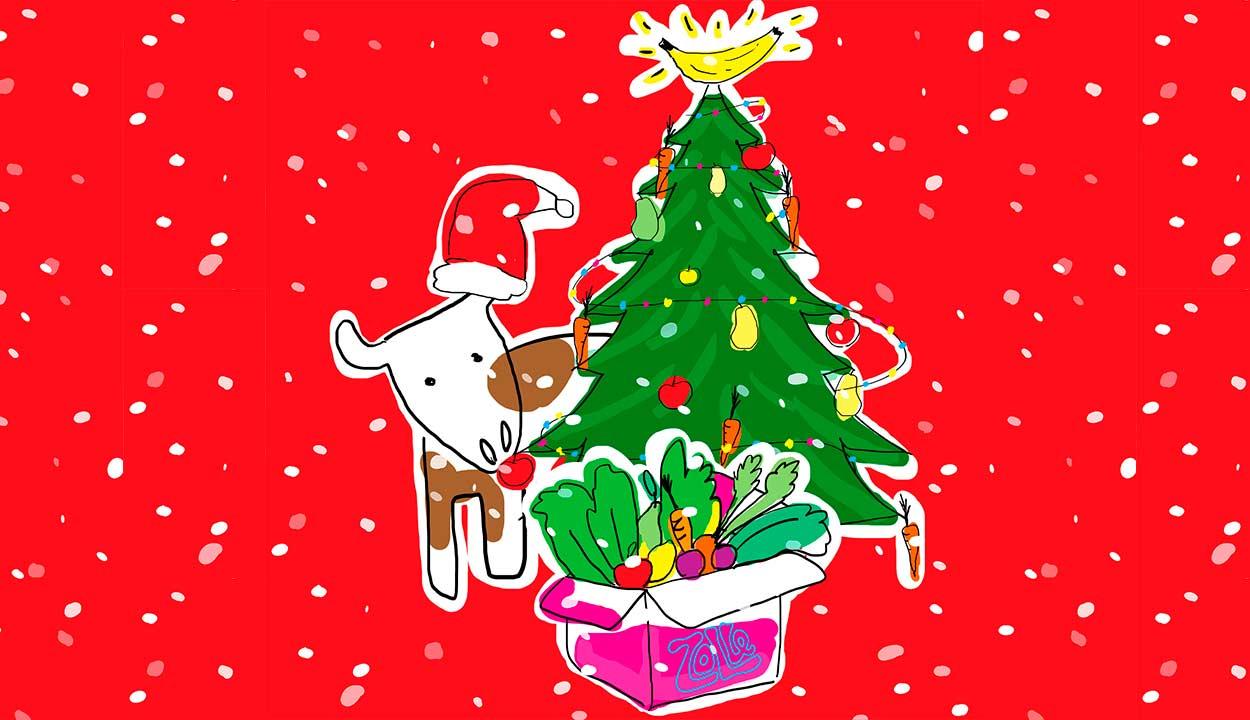 albero di Natale con una mucca e la scatola di Zolle